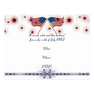 4th of July Patriotic US Flags and Stars Postcard