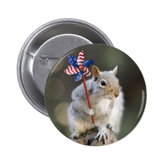 4th of July Patriotic US Squirrel Pinback Button