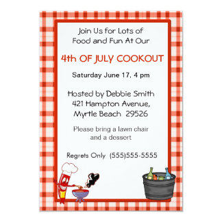 4th Of July Picnic/Cookout Card