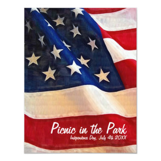 """4th of July  Picnic  Independence Day Invite 4.25"""" X 5.5"""" Invitation Card"""