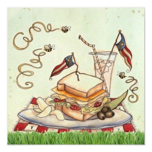 """4th of July Picnic invite 5.25"""" Square Invitation Card"""
