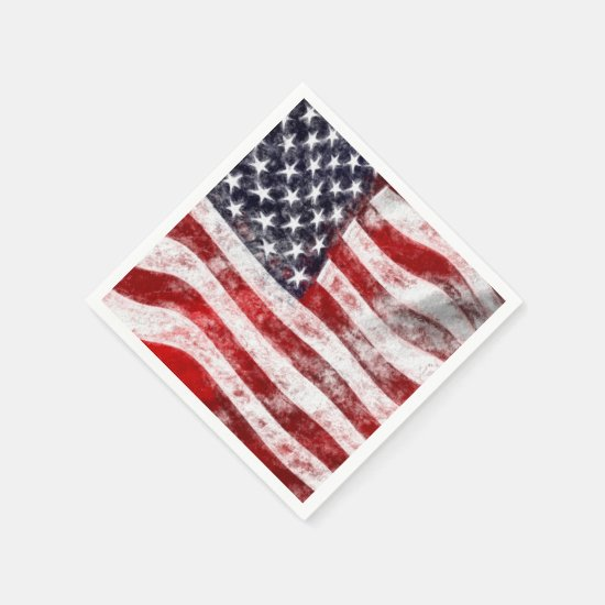 4th of July Picnic Paper Napkins, American Flag Paper Napkin