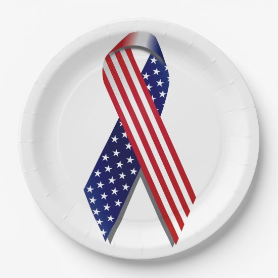 4th of July Picnic Paper Plates, Flag Ribbon Paper Plate