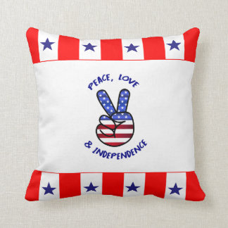 4th of July Pillow Hippy US Flag Hand Peace Sign