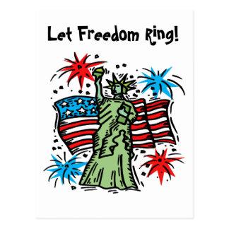 4th of July Postcard: Lady Liberty