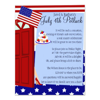 Potluck invitations announcements zazzle 4th of july potluck party card stopboris Choice Image