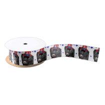 """4th of July pug dog 1.5"""" satin ribbon"""