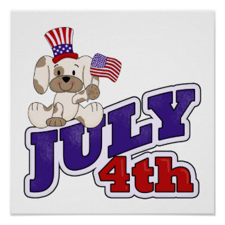 4th Of July Puppy Print