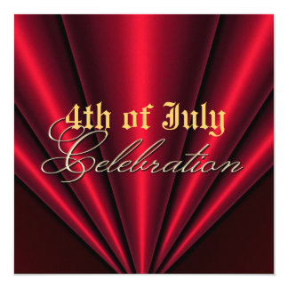 4th of July Red Pleats Gold Party Invitation
