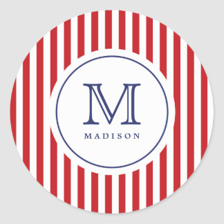 4th Of July Red Stripes Monogram Party Sticker