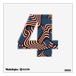 4TH Of July Red White And Blue American Flags 4 Wall Decal