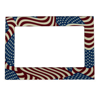 4TH Of July Red White And Blue American Flags Magnetic Frame