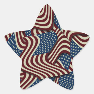 4TH Of July Red White And Blue American Flags Star Star Sticker