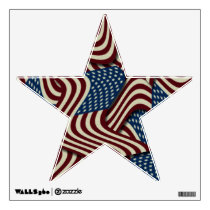 4TH Of July Red White And Blue American Flags Star Wall Sticker