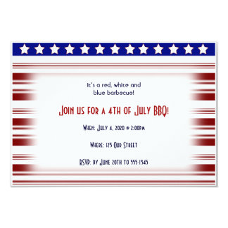 4th of July Red White and Blue Candystripe 3.5x5 Paper Invitation Card