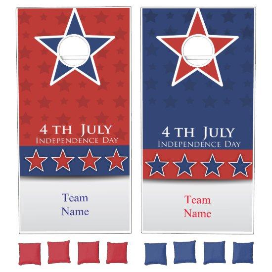 4th of July, Red White and Blue Cornhole Game Cornhole Set