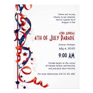 4th of July Red White and Blue Ribbons and Stars Flyer