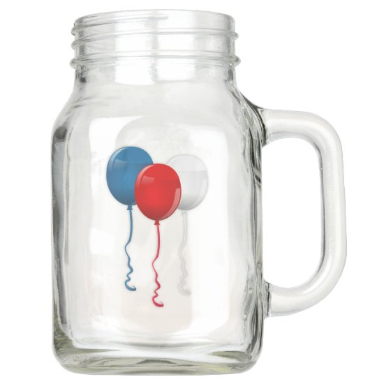 4th of July, Red White & Blue Balloons Country Mason Jar