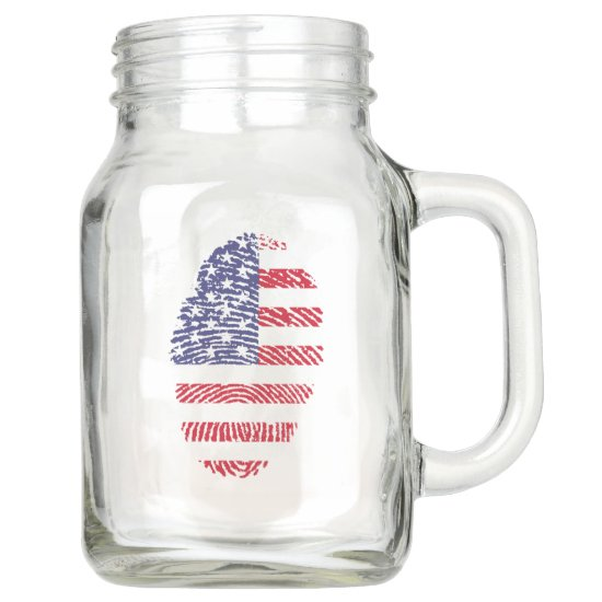 4th of July, Red White & Blue Fingerprint Country Mason Jar