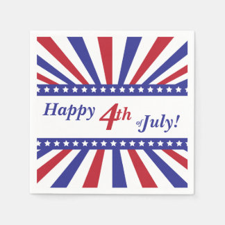 4th of July Red White Blue Stars and Stripes Napkin