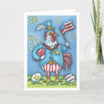 4TH OF JULY ROOSTER, CHICKEN GREETING CARD Blank