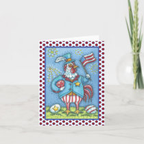 4TH OF JULY ROOSTER, CHICKEN GREETING CARD Verse