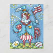 4TH OF JULY ROOSTER, HOLIDAY CHICKEN POSTCARD