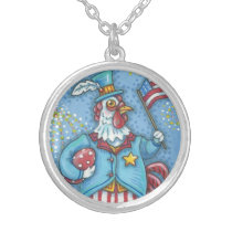 4TH OF JULY ROOSTER SILVER PLATED NECKLACE Chicken