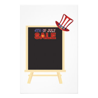 4th of July SALE sign board with Hat Illustration Stationery