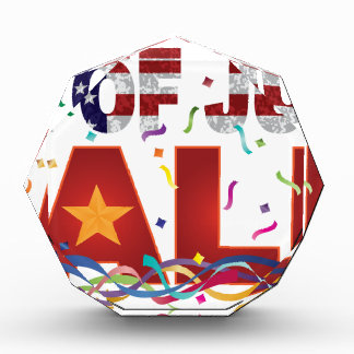 4th of July Sale Text with US Flag Confetti Acrylic Award