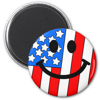 4th of July Smiley 2 Inch Round Magnet
