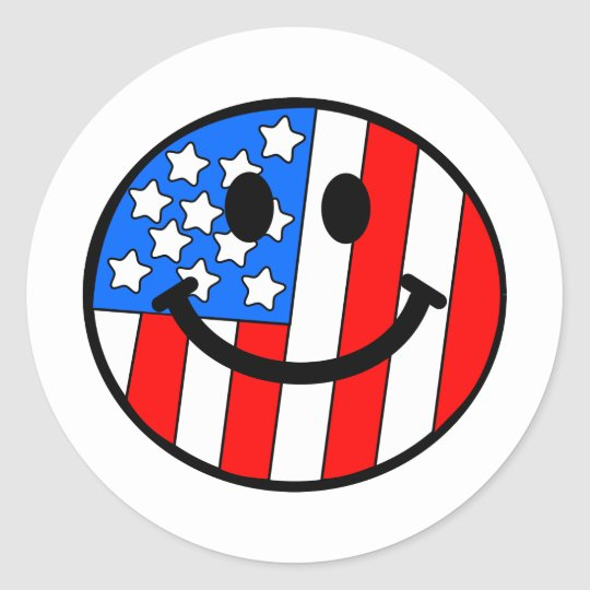 4th of July Smiley Classic Round Sticker