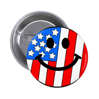 4th of July Smiley Pinback Button
