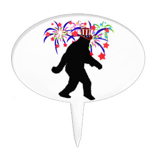 4th of July Squatchin' w/Fireworks Cake Topper