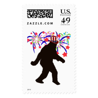 4th of July Squatchin' w/Fireworks Postage Stamps