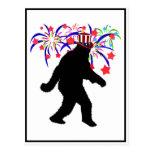 4th of July Squatchin' w/Fireworks Postcard