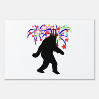 4th of July Squatchin' w/Fireworks Sign