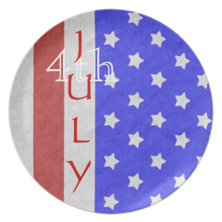 4th of July Star & Stripe Red Plate