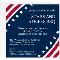 4th of July Stars and Stripes BBQ Invitation