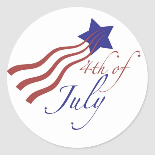 4th of july stars and stripes classic round sticker