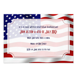 4th of July Stars and Stripes Forever Flag Custom Invitations