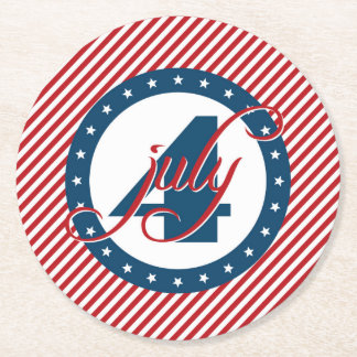 4th of July Stars and Stripes Round Paper Coaster