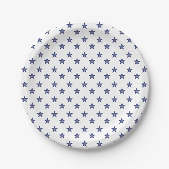 4th Of July Stars Blue White Party Paper Plates