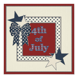 4th of July Stars & Bow Party Invites