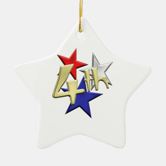 4th of July Stars Ceramic Ornament