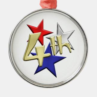 4th of July Stars Metal Ornament