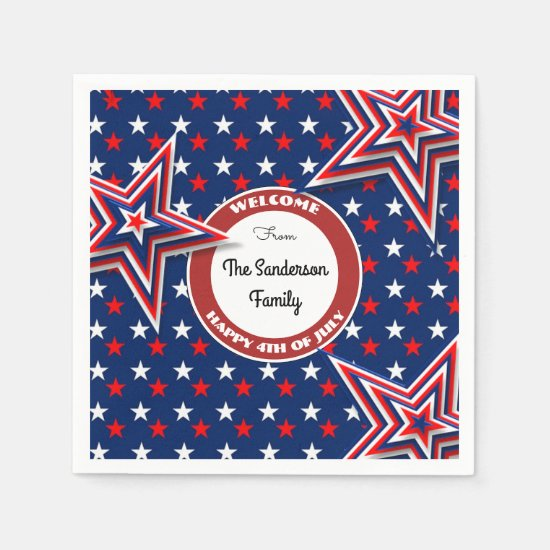 4th Of July Stars Personalized Paper Napkin