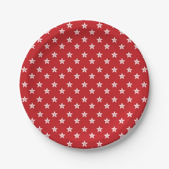 4th Of July Stars Red White Party Paper Plates