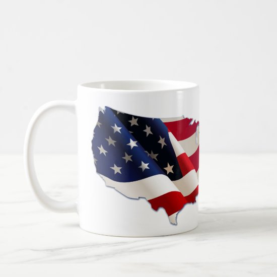 4th of July, Stars & Stripes Map of US, Mug