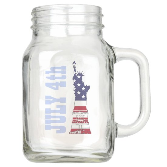 4th of July Statue of Liberty, Country Mason Jar